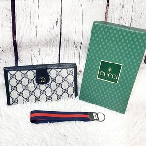 Gucci vintage 80s monogram blue long wallet clutch